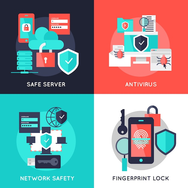 Data protection flat compositions Free Vector