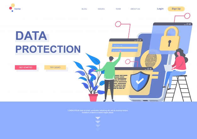Data protection flat landing page template. data security system, personal information confidentiality situation. web page with people characters. safety networking connection illustration. Premium Vector
