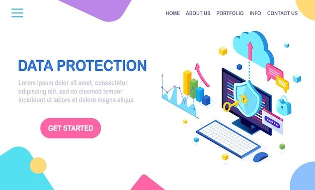 データ保護。インターネットセキュリティ、パスワードによるプライバシーアクセス。キー、ロック付き等尺性コンピュータpc。 Premiumベクター
