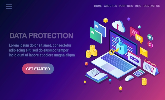 データ保護。インターネットセキュリティ、パスワードによるプライバシーアクセス。キー、オープンロック、フォルダー、クラウド、ドキュメント、ラップトップ、お金とアイソメトリックコンピューターpc。 Premiumベクター