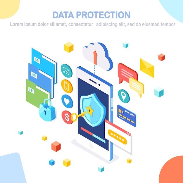 データ保護。インターネットセキュリティ、パスワードによるプライバシーアクセス。キー、シールド、ロック、フォルダー、クラウド、ドキュメント、クレジットカード、お金、メッセージを備えた等尺性の携帯電話。 Premiumベクター
