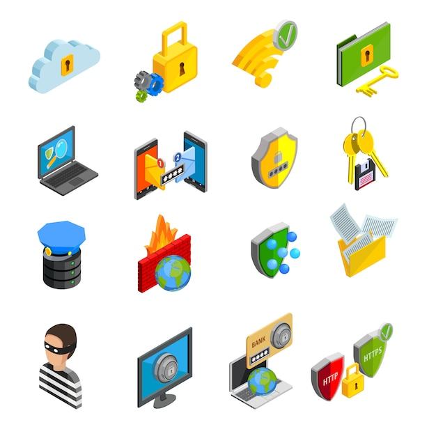 Data protection isometric icons set Free Vector