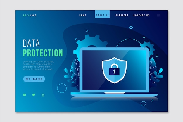 Data protection landing page concept Free Vector