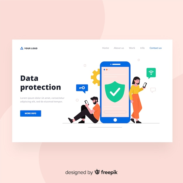 Data protection landing page design Free Vector