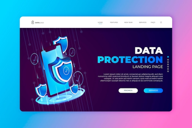 Data protection landing page template Free Vector