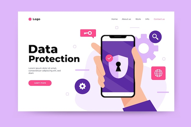 Тема целевой страницы защиты данных Бесплатные векторы