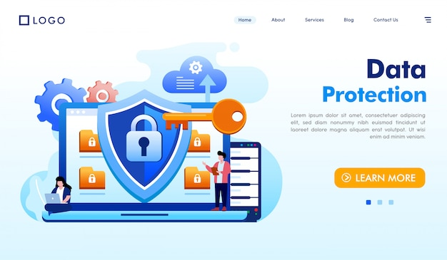 Data protection landing page website illustration vector Premium Vector