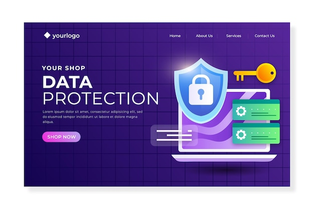 Data protection landing page Free Vector