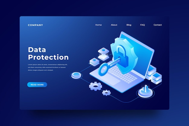 Data protection laptop landing page Free Vector