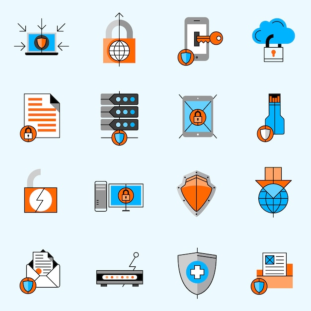 Data protection line icons set Free Vector