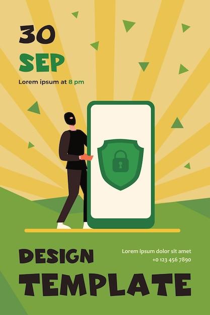 携帯電話のデータ保護。個人データを盗むハッカーフラットチラシテンプレート 無料ベクター