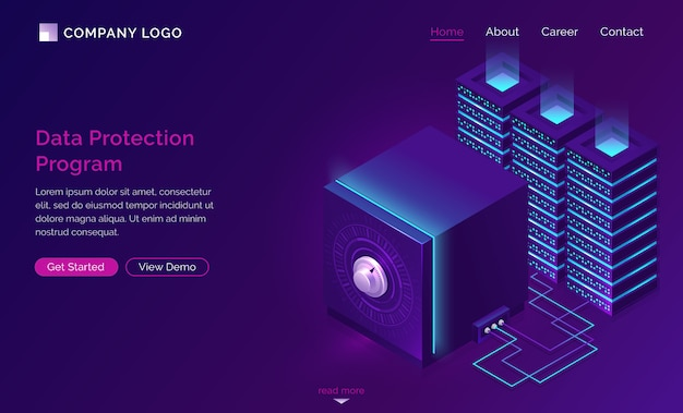 Data protection program landing page Free Vector