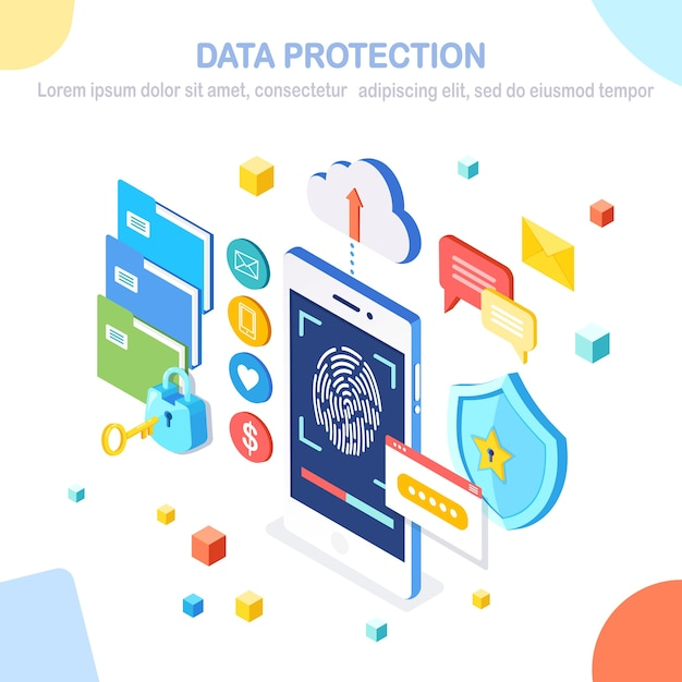 Data protection. scan fingerprint to mobile phone. smartphone id security system. digital signature. biometric identification technology, personal access.  isometric lock, key, shield. Premium Vector