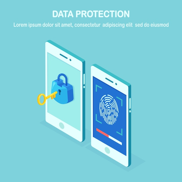 Data protection. scan fingerprint to mobile phone. smartphone id security system. digital signature concept. biometric identification technology, personal access.  isometric phone Premium Vector