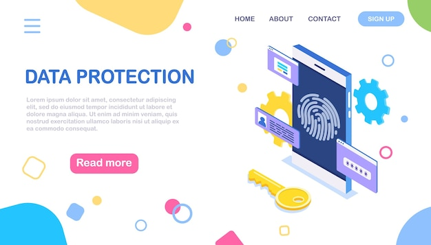 Data protection. scan fingerprint to phone. smartphone id security. biometric identification Premium Vector