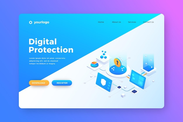 Data protection for users landing page Free Vector