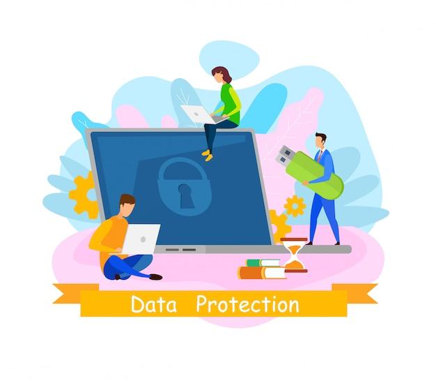 Data protection web banner Premium Vector
