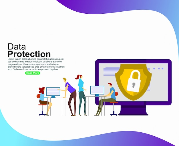 Data protection for website and mobile website development. template Premium Vector