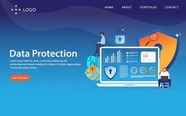 Data protection, website template,  layered, easy to edit and customize, illustration concept Premium Vector