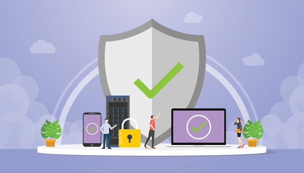 Data protection  with big shield and padlock with data server database with modern flat style Premium Vector
