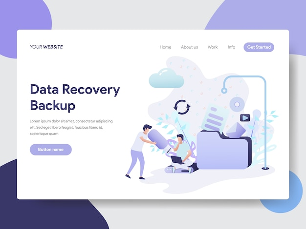 Data recovery backup illustration for website page Premium Vector