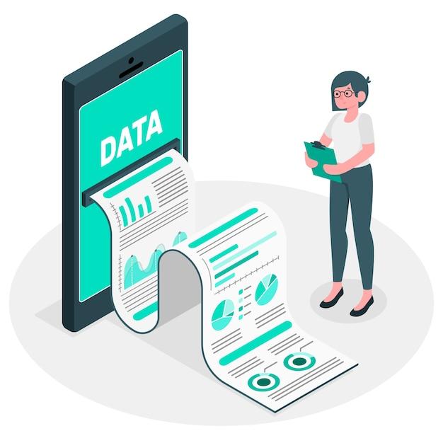 データレポートイラストコンセプト 無料ベクター