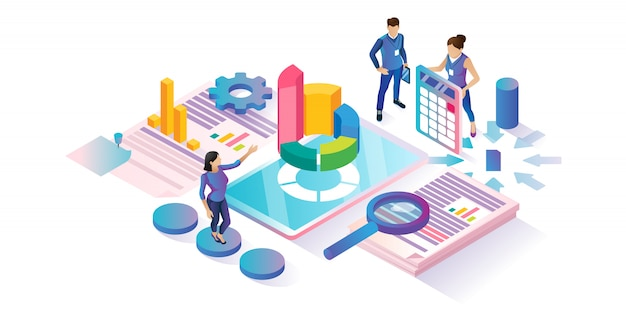 Data research isometric cyberspace concept Premium Vector