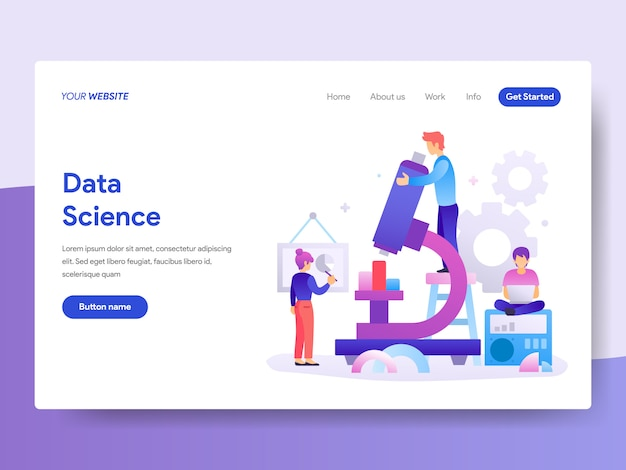 Data science illustration for homepage Premium Vector