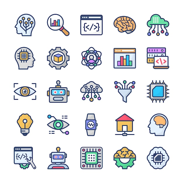 Data science technology flat icons pack Premium Vector