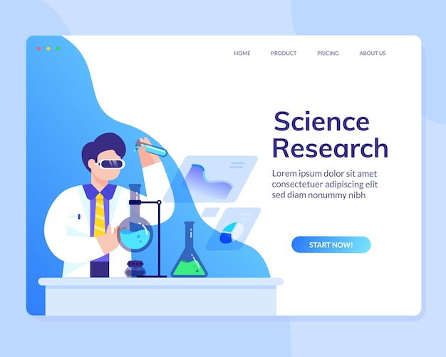 Data scientist analysis research science  website template Premium Vector