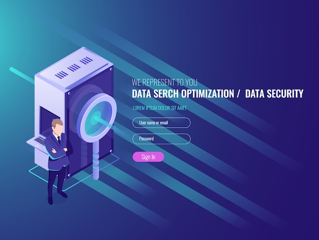 Data search optimization, information server, protection and security of database Free Vector