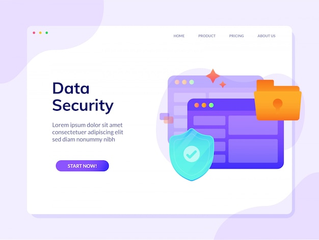 Data security website landing page vector design illustration template Premium Vector