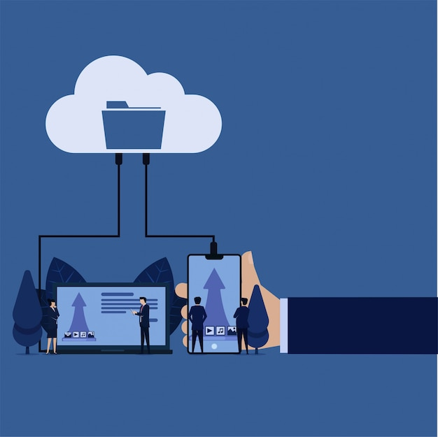 Data storage on cloud upload files images musics videos messages from laptop phone. Premium Vector