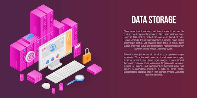 Data storage concept banner, isometric style Premium Vector