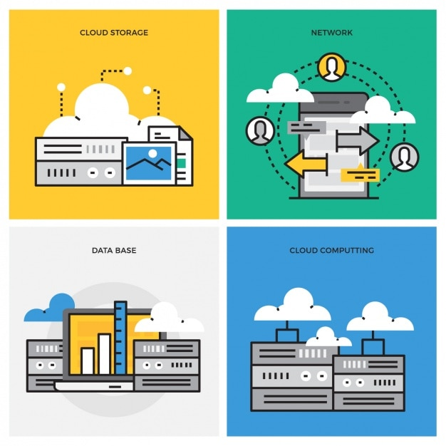 Data storage designs collection Free Vector