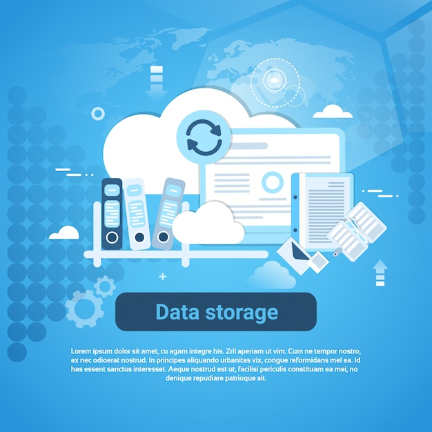 Data storage web banner with copy space Premium Vector