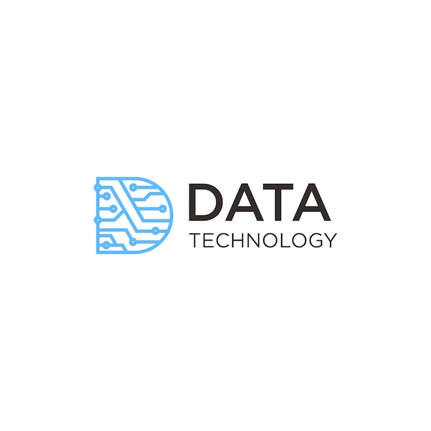 Data technology logo Premium Vector