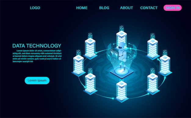 Data technology service landing page Premium Vector