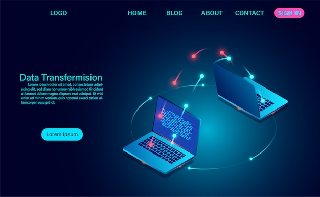 Data transfermision and exchange of data between computers. vector illustration isometric style Premium Vector