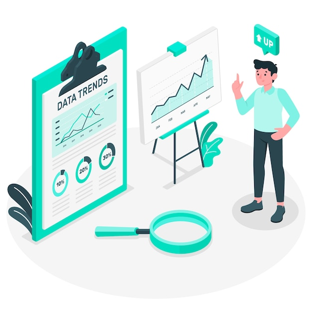 Data trends concept illustration Free Vector