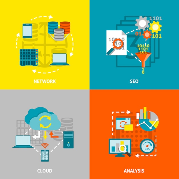 Database analytics vector images Free Vector
