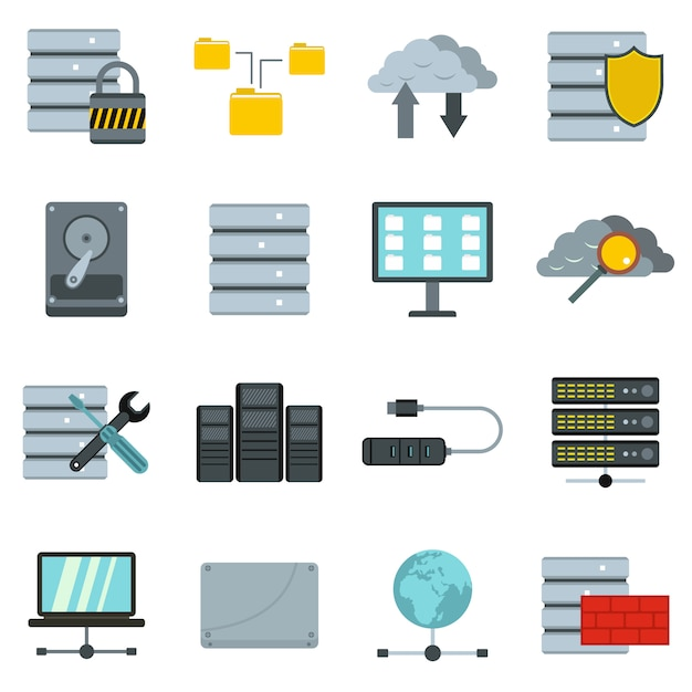Database icons set Premium Vector
