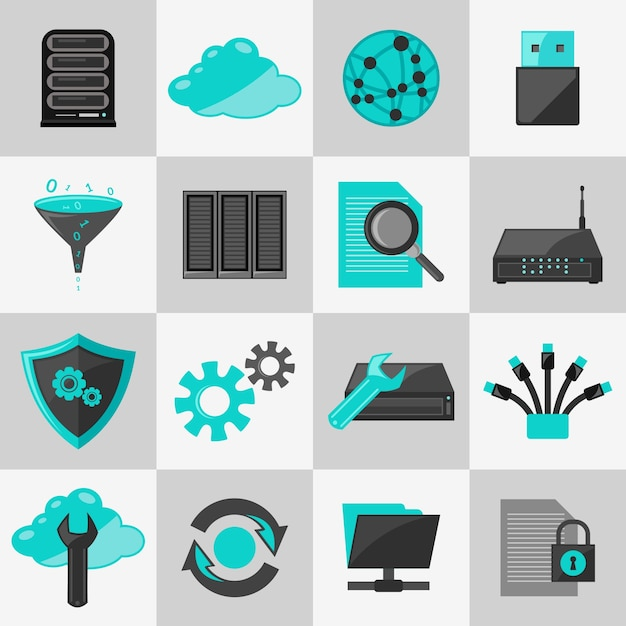 Database information technology network\ management icons flat set isolated vector illustration