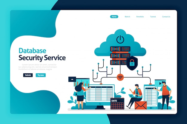 Database security service landing page Premium Vector