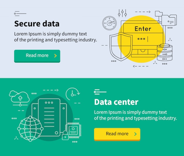 データセンターバナーセット 無料ベクター