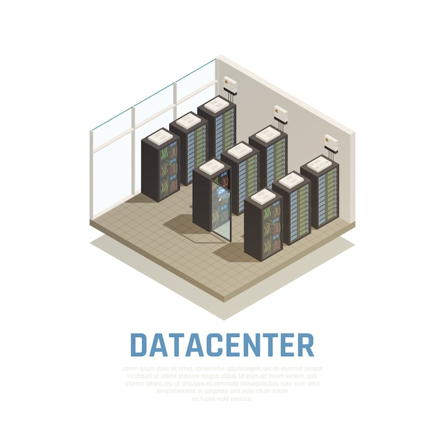 Datacenter composition with information storage and database symbols isometric Free Vector