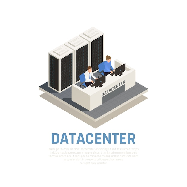 Datacenter concept with connection software and hardware symbols isometric Free Vector