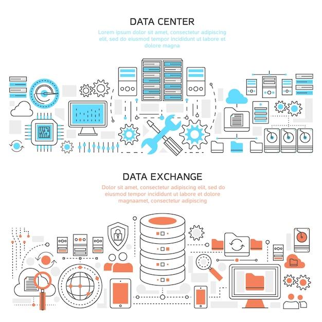 データセンターの水平線形バナー 無料ベクター
