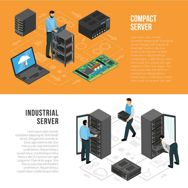 Datacenter isometric horizontal banners template Free Vector