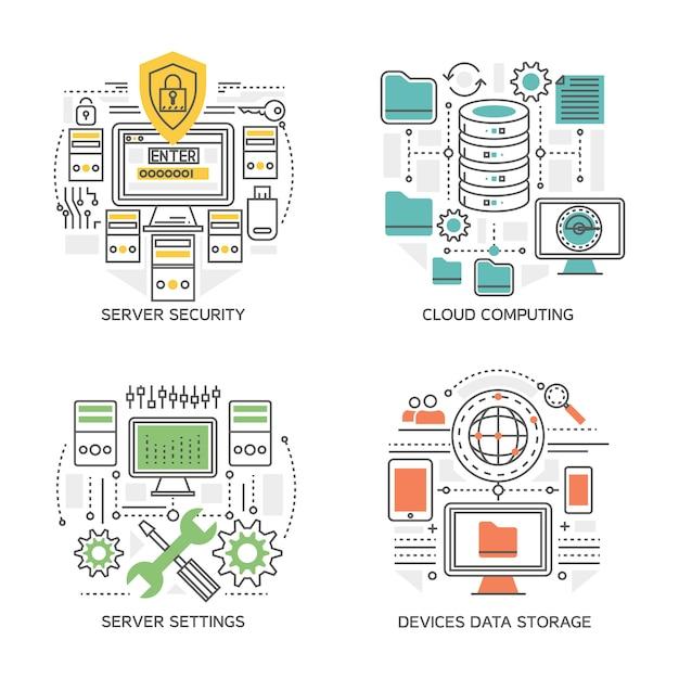 分離されたサーバー設定およびセキュリティシステムクラウドコンピューティングデバイス情報ストレージを含むデータセンター線形構成 無料ベクター
